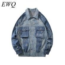 EWQ / men's wear high Street Tide Tie-dyed patchwork Work Clothes denim jackets Loose vintage oversize Coat Hip Hop coat 9Y945