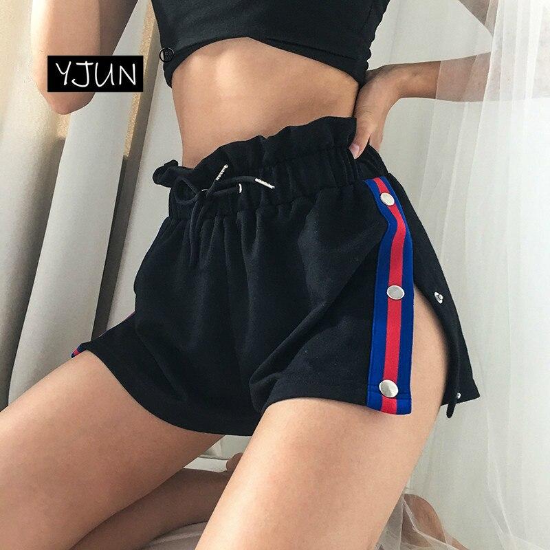 2019 Women Black Patchwork Shorts Summer High Waist Sexy Side Split Shorts Fashion Feminino Shorts