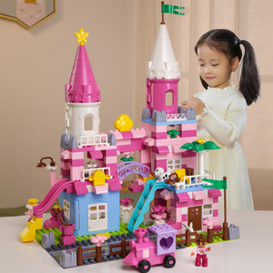 QWZ New Girls Pink Princess Castle Building Blocks Bricks Compatible with Duploed Parts Toys For Children kids Christmas gift