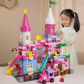 QWZ, bloques de construcción nuevos para niñas, Castillo de princesa rosa, compatibles con piezas Duploed, juguetes para niños, regalo de Navidad