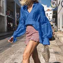 Women Slik Satin Tops and Blouses 2021 Celmia Fashion Long Sleeve Elegant OL Office Peplum Shirts Lapel Sexy Blusas Feminina 5XL