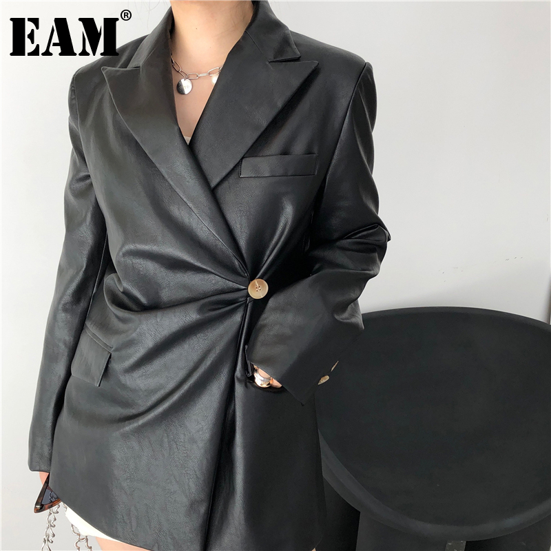 [EAM] Loose Fit Black Pu Leather Knot Temperament Jacket New Lapel Long Sleeve Women Coat Fashion Tide Spring Autumn 2020 1DA500 1