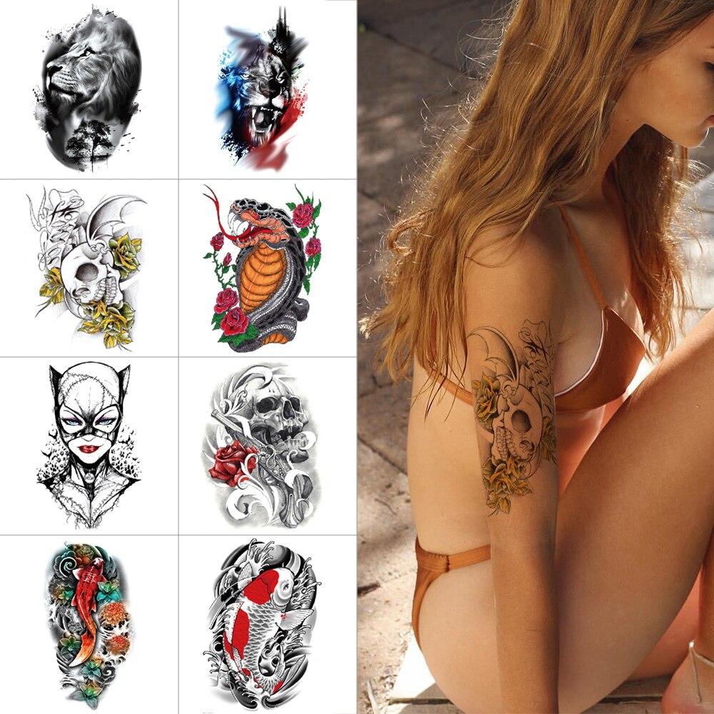 Temporary Tattoo Stickers Lion Tiger Snake Arm Sticker Tattoo Koi Fish Flower Body Tattoo Skull Demon Ink Color Tattoos