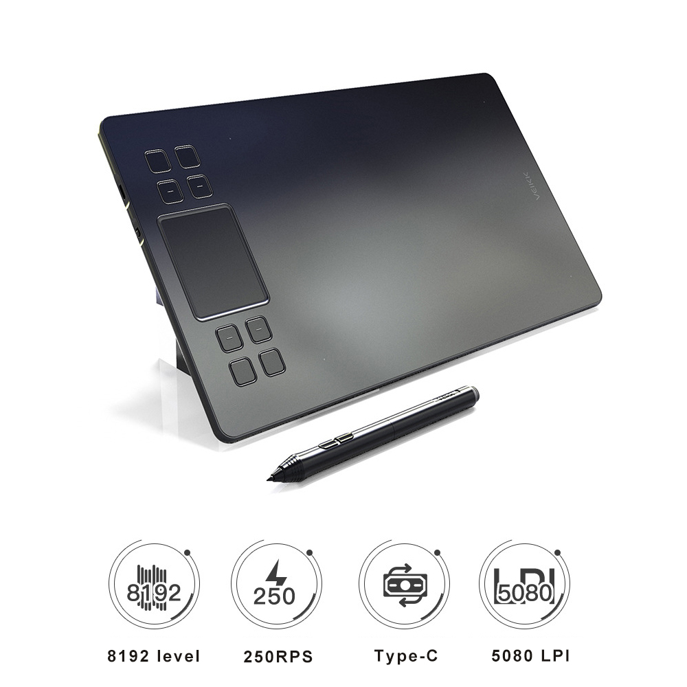 10*6 Inches 5080DPI 250PPS Digital Pen Tablet Anime Graphic Tablet for Drawing & Playing OSU with 8192 Levels Battery-Free Pen