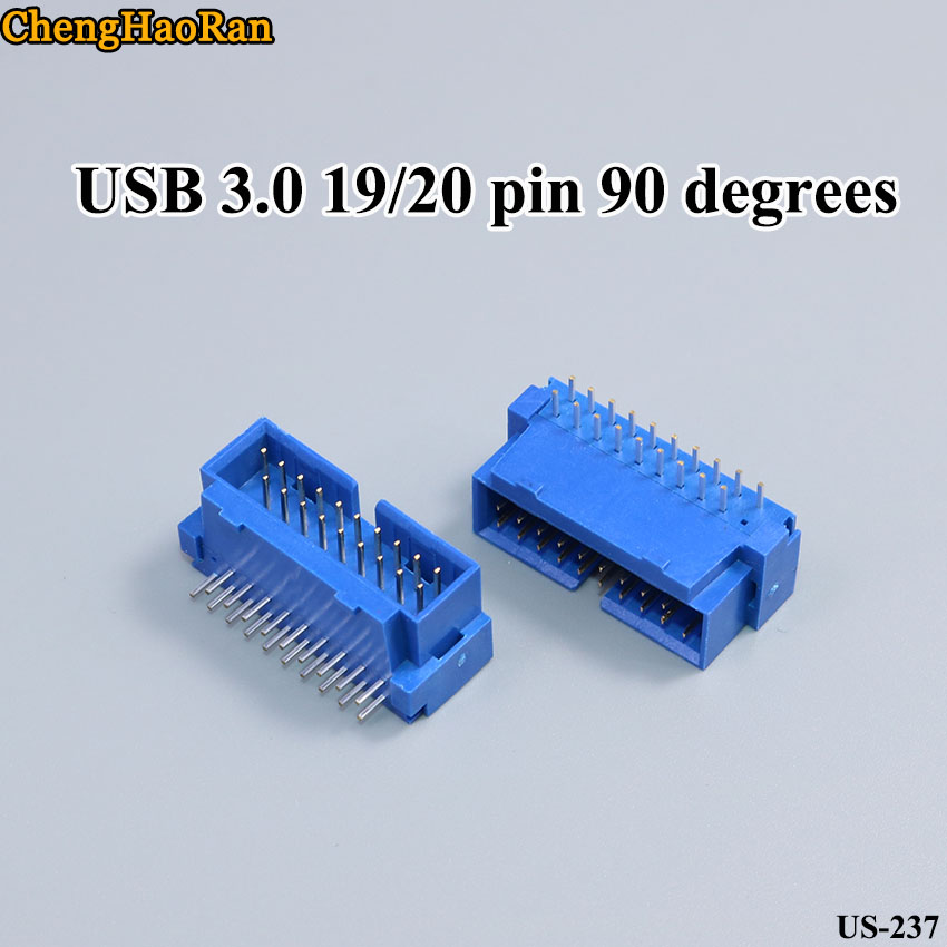 Cable Length: 5PCS, Color: Blue ShineBear USB 3.0 20P 19pin USB3.0 20pin 19pin Male Connector 90 Degree Motherboard chassisplugged Plate IDC 20pin Connector Socket