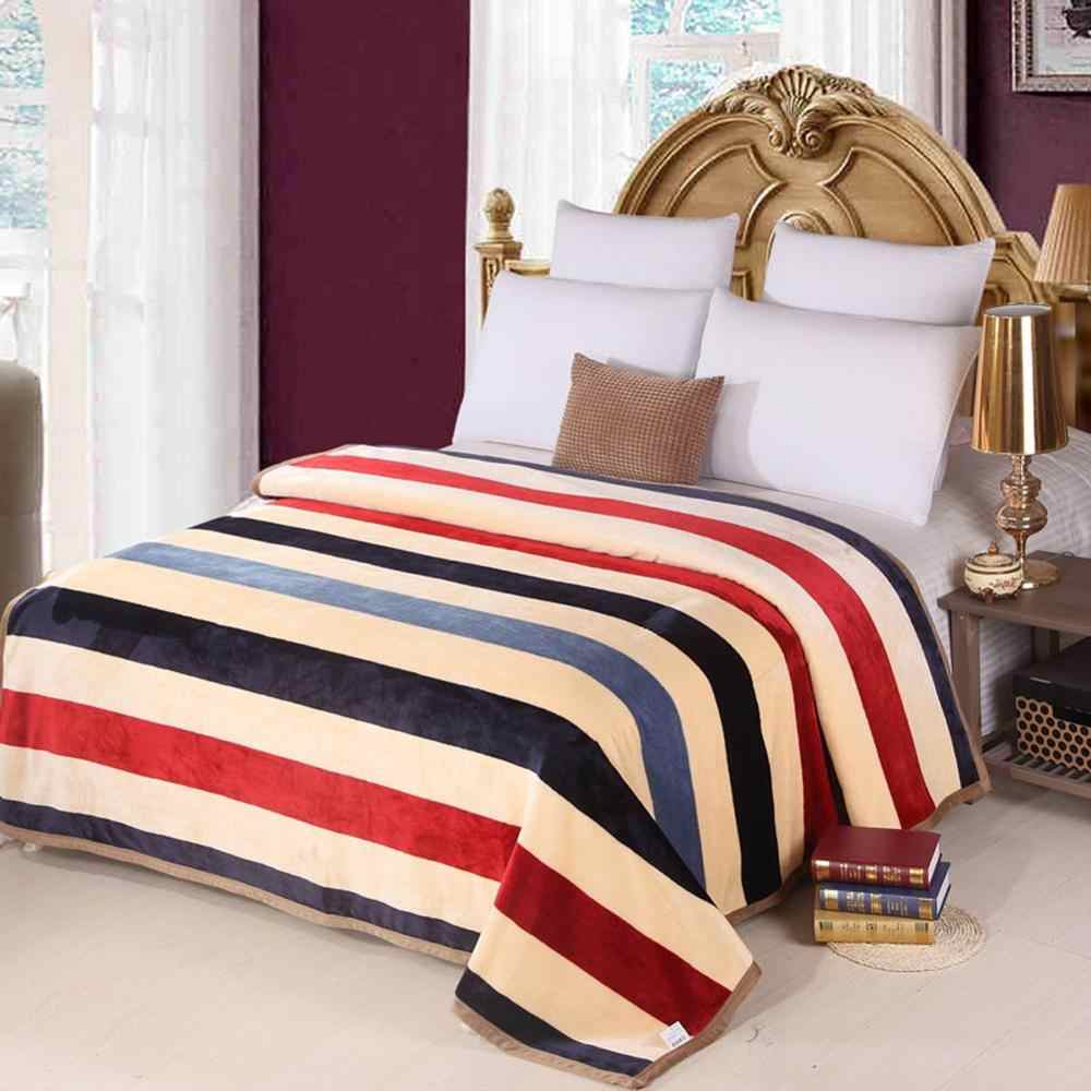 Simple Blue Red Beige Stripes Soft Print Double-side Blankets Throws Plaids Flannel Fleece Microfiber Polyester Bedlinens