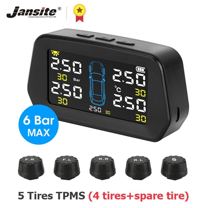 Система контроля давления в шинах Jansite, система контроля давления в шинах с солнечной панелью, контролем давления в 5 шинах