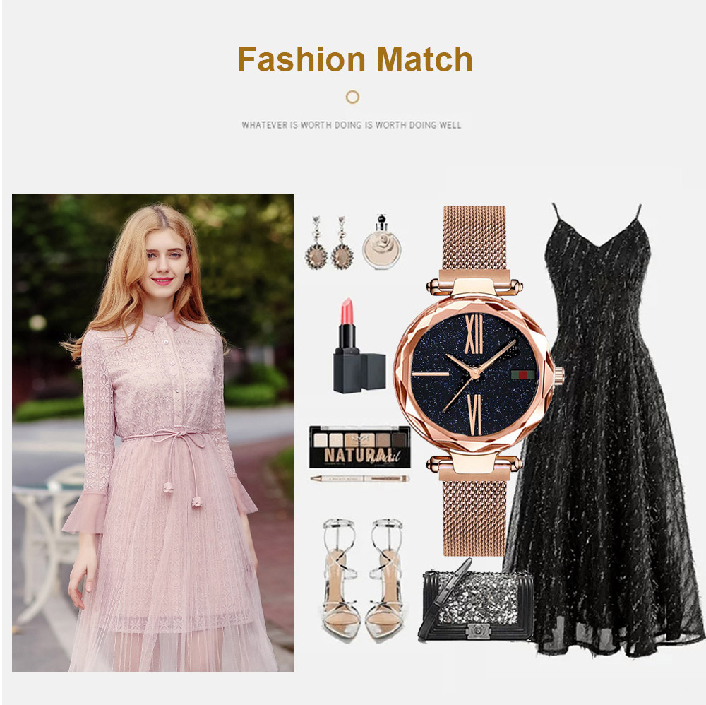 Luxury Minimalism Starry sky Magnet Rose Gold Women Watches 19