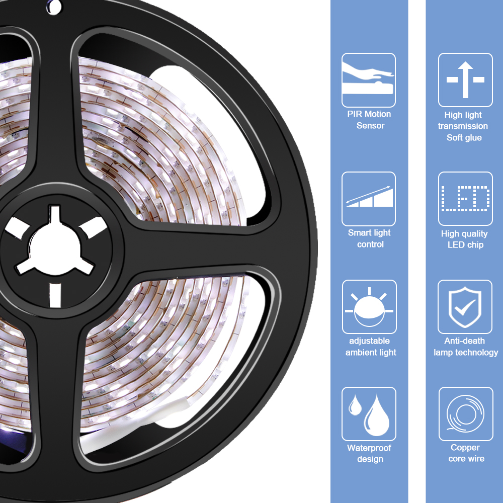 Motion Sensor Led Stirp Light Cucina Waterproof Night Light 1M 2M 3M Wardrobe Flexible светодиодная лента 5V Cabinet Lamp Tape in Under Cabinet Lights from Lights Lighting