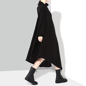Image 5 - מוצק שחור אישה סתיו חורף ארוך אסימטרית סרוג סוודר שמלה מלא שרוול בתוספת גודל למתוח גבירותיי שמלת Robe סגנון 1803