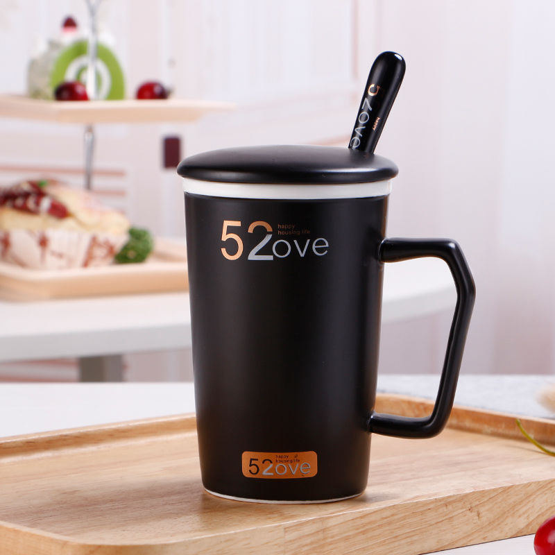 Coffee Mug Lovers cup with lid and spoon tazas de cafe mugs coffee cups tazas de ceramica creativas tea cup  couples mugs set