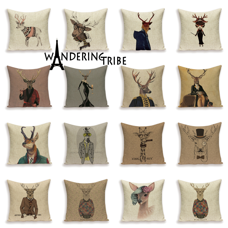 Hot Sale Nordic Elk Cushion Covers Rustic Pillow Finery Deer PillowCase Chair Large Linen Home Decor Animal Pillows Covers Case