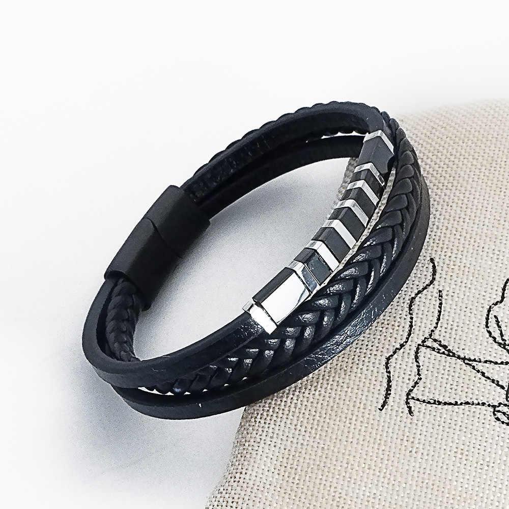VEROMCA personalidad moda Multi-capa damas tejidas a mano pulsera de cuero de los hombres de oro pulsera con hebilla de imán.