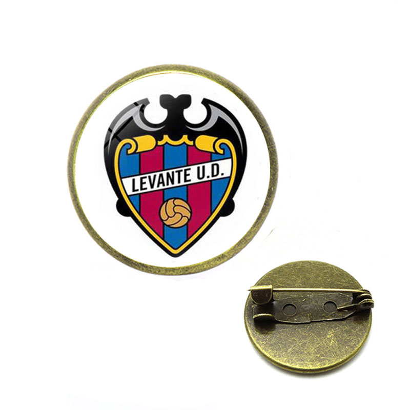 Custom products accepted Football Club Logo Brooches Glass Cabochon Team Logo Brooches Pins for Football Fans