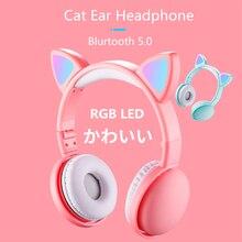 Новое поступление светодиодный наушники с кошачьими ушками, умные наушники с шумоподавлением, Bluetooth 5,0, гарнитура для взрослых и детей с микрофоном и штекером 3,5 мм