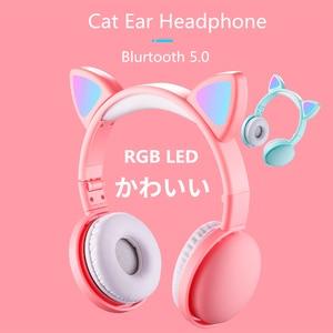 Image 1 - הגעה חדשה LED חתול אוזן אוזניות חכם רעש ביטול Bluetooth 5.0 אוזניות מבוגרים וילדים אוזניות עם מיקרופון 3.5mm תקע