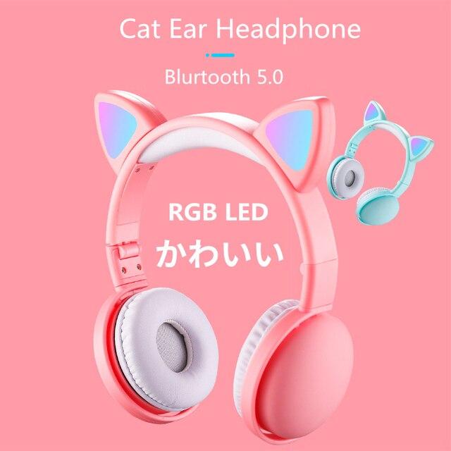 הגעה חדשה LED חתול אוזן אוזניות חכם רעש ביטול Bluetooth 5.0 אוזניות מבוגרים וילדים אוזניות עם מיקרופון 3.5mm תקע