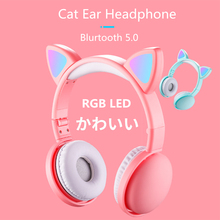 New Arrival LED Cat Ear Headphones Smart Noise Cancelling Bluetooth 5.0 Headsets Adults & Kids Headset With Mic 3.5mm Plug