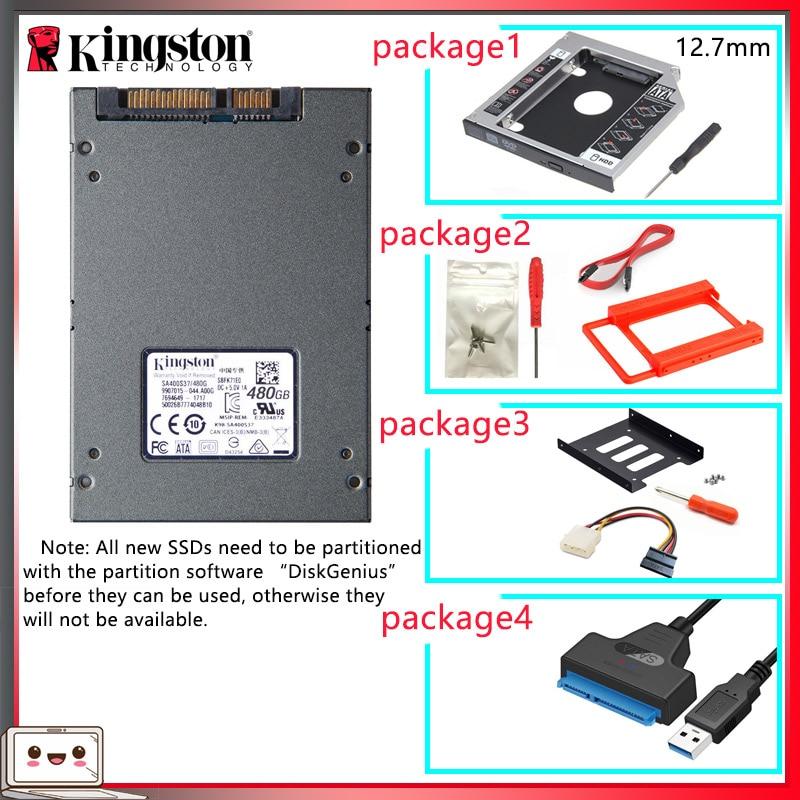 D'origine Kingston SSD жесткий диск 480 go SAT 3 HDD 2.5 pouces Disco Duro ssd avec Disque Dur/Optibay ou Adaptateur Pour PC Portable