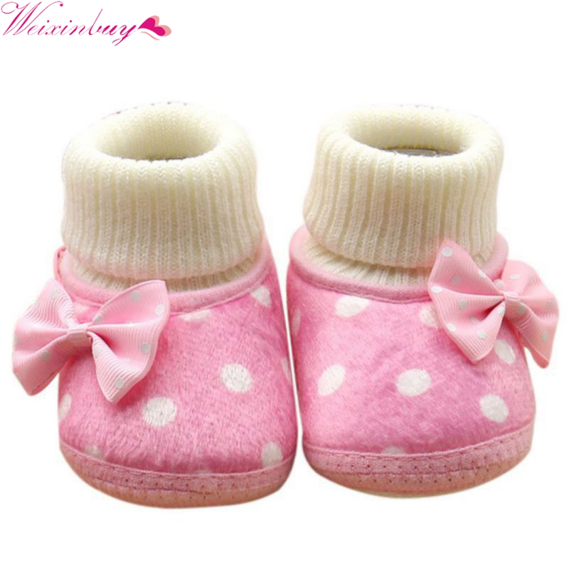 Warm Newborn Shoes Baby Girl Bowknot Fleece Winter Snow Boots Booties White Princess Shoes