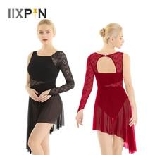 Women Lyrical Modern Contemporary Ballet Dance Dress Single Long Sleeve with Fingertip Lace Bodice Asymmetric Leotard Dress