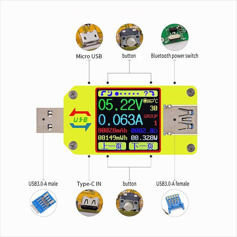 UM34C UM34 For APP USB 3.0 Type-C DC Voltmeter Ammeter Voltage Current Meter Battery Charge Measure Cable Resistance Tester
