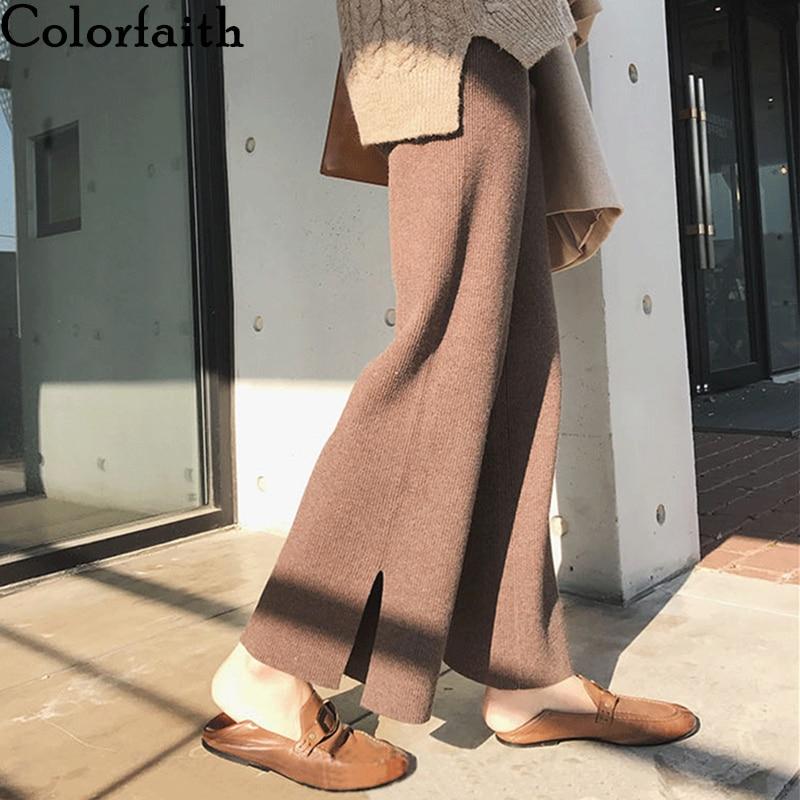Colorfaith 2019 Autumn Winter Women Pants Wide Leg Pants High Waist Elastic Waist Loose Knitting Korean Style Casual Pants P335