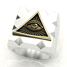HNSP Gold Eye of Horus Triangle seal Square rings for men Finger jewelry male ring punk hnsp big devil skull ring for men punk jewelry male finger gift anel