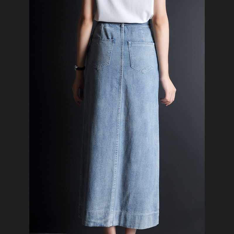 Elegante Hoge Split Lange Denim Rok 2020 Nieuwe Vintage Sash A-lijn Jean Rok Fashion Office Lady Hoge Taille Slim Wrap rok S-3XL