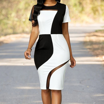 OUSHANG  Women Fashion  Dress Black and White Contrast Package Hip DRESS Mesh Stitching Dress 2020 New 2019 autumn new european and american women s personality stitching ruffled long sleeved round neck slim bag hip dress