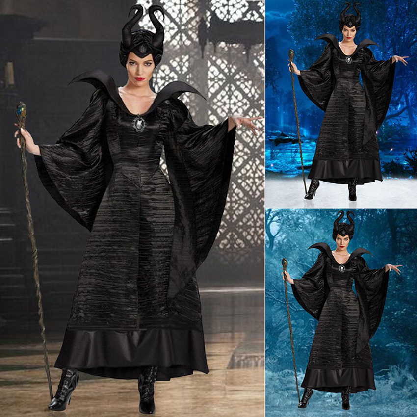 M-XL Plus Size Halloween Maleficent Cosplay Costumes Woman Scary Horror Clothing Set With Horns Black Queen Witch Clothing