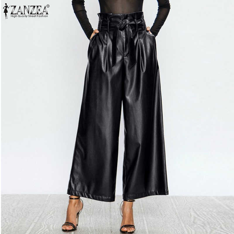 Women Wide Leg Pants Zanzea 2021 Stylish Pu Leather Trousers Ruflle High Waist Pantalon Palazzo Female Solid Turnip Oversized Pants Capris Aliexpress
