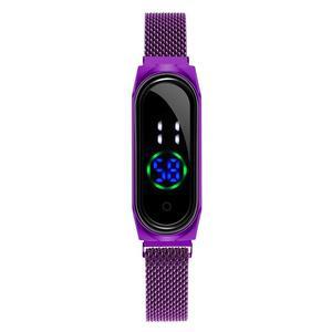 Новые женские часы, женские светодиодные часы с сенсорным экраном, розовое золото, магнитный сетчатый пояс, электронные часы, цифровые нару...