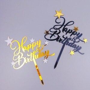 1 шт., блестящий Топпер для торта «С Днем Рождения», милая звезда, кекс, топперы для торта, украшения торта, Топпер, зубочистка, детский день ро...