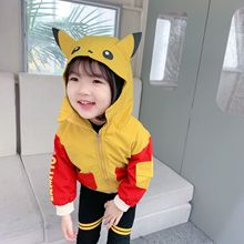 New autumn Korean style cute cartoon pattern long-sleeved  hit color hooded windbreak jacket outerwear with bow tie for girls