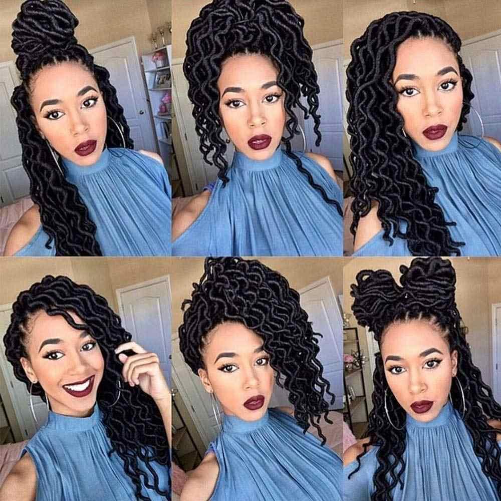 Golvend Gypsy Loc Ombre Gehaakte Haar Godin Locs Kanekalon Fiber Faux Locs Afrikaanse Wortel Dreadloc Synthetische Vlechten Hair Extension
