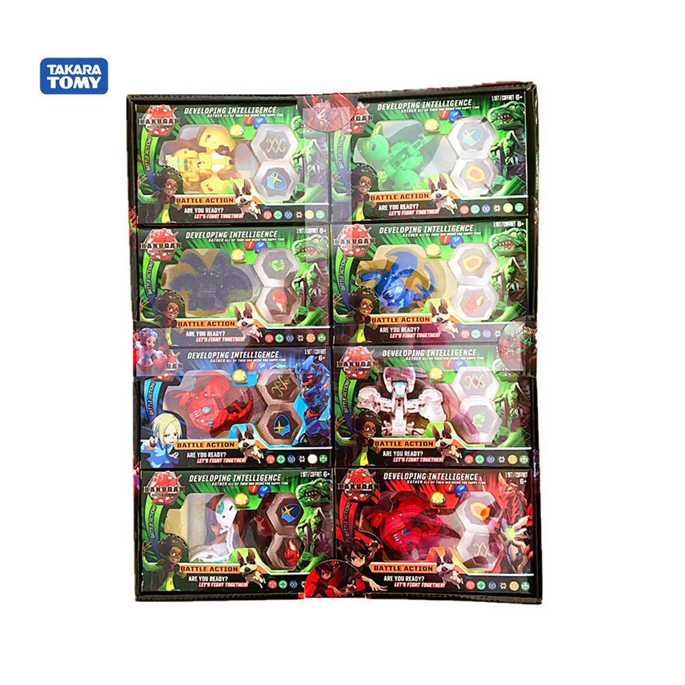 Tomy New Children Toy Birthday Gift Model Decoration Total 8 Bakugan 16 Card And Magnetic Pads Collection
