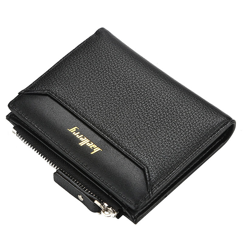 2020 Men Short Wallets Name Print Solid Fashion Zipper Card Holder Men Purse High Quality Coin Pocket Male Purse Men Men's Bags Men's Wallets Color: black