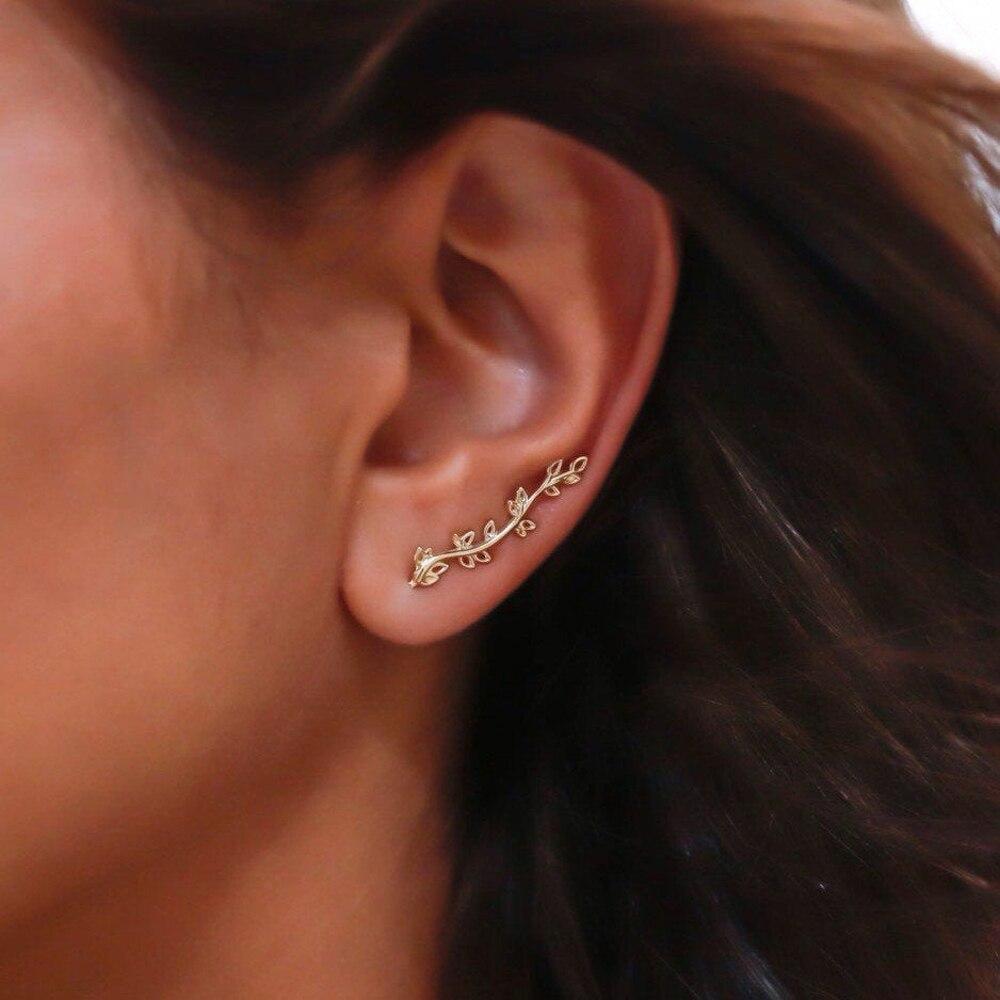 Gold Leaf Ear Climber Earrings