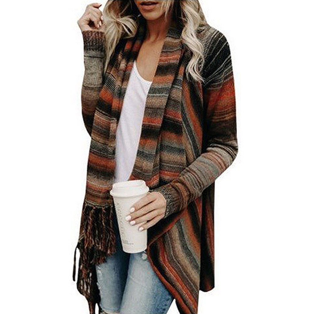 Sovalro Knitted Cardigan Cloak Sweater Autumn Tassel Long-Sleeve Striped Women Outerwear