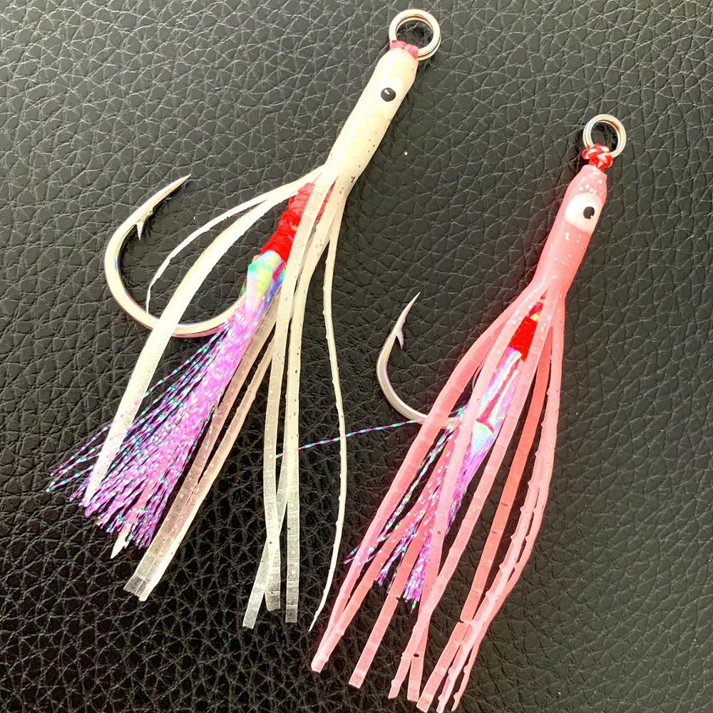 Ufishing duplo-círculo hairtail brilhante seda jigging ganchos 1 peças/lote amarrado acima de aço inoxidável gancho