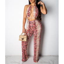 Fashion 2 Piece Set Women Summer Clothes Snakeskin Print Womens Two Piece Outfit