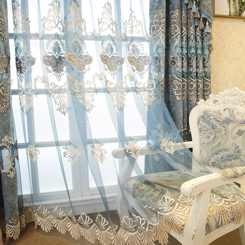 2021 New European Luxury Living Room Blackout Embroidered Voile Curtain Cloth Window Bedroom Bay Drape Fabric Blinds