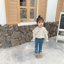 2019 Autumn New Arrival Korean style cotton long sleeve all match princess lace flowers shirt for cute sweet baby girls