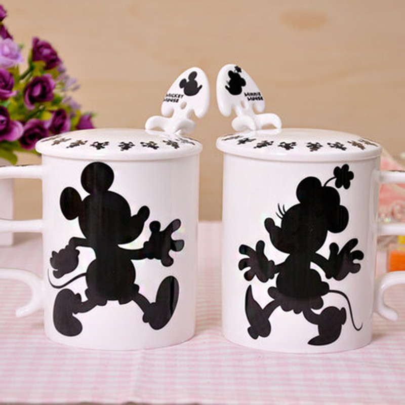 2019 New 400ML Disney Mickey Minnie Ceramic Cup With Spoon Cover Cartoon Couple Water Cup Family Office Mug Love Festival Gifts