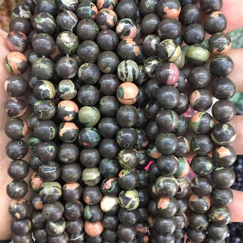 8 มม.สีดำที่มีสีสันของแท้หินธรรมชาติลูกปัดสำหรับสร้อยข้อมือ DIY สร้อยคอเครื่องประดับของขวัญขายส่ง