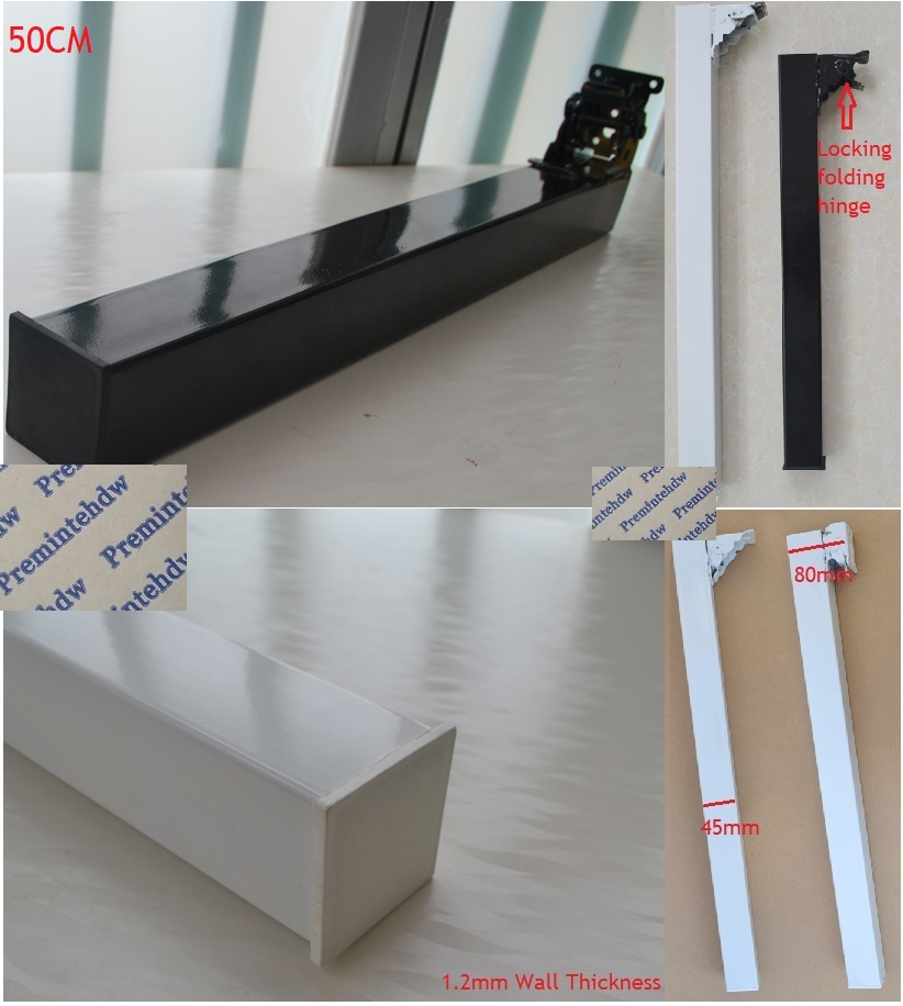 50CM High Folding Foldable Table Desk Bench Top Bar Square Leg Feet Black White Paint RV Caravan Locking Folding Trigger Hinge