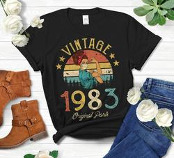 Vintage 1983 Original Parts Retro with Mask Quarantine Edition T-Shirt Funny 38th Birthday Gift O Neck color pattern Unisex top