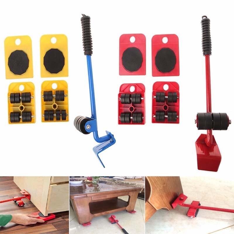 ZK3 5 PCS 가구 발동기 도구 세트 가구 수송 기중 장치 무거운 물건 이동 도구 바퀴 달린 발동기 롤러 휠 바 손 도구