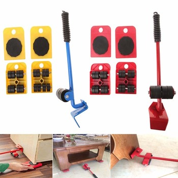 ZK3 5 PCS Furniture Mover Tool Set Furniture Transport Lifter Heavy Stuffs Moving Tool Wheeled Mover Roller Wheel Bar Hand Tools